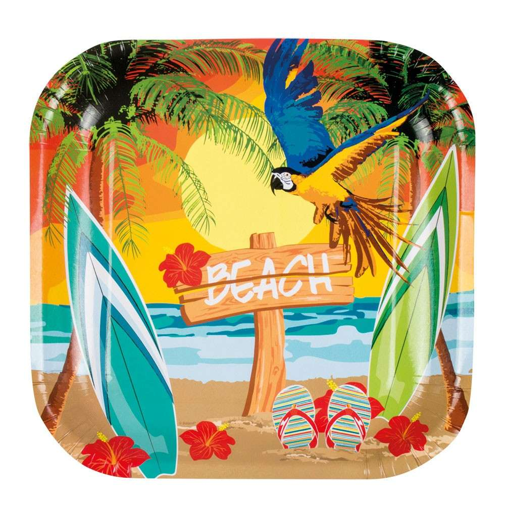 Fotowand Papier 6 Corner Hawaii Beach Party Paper Plates