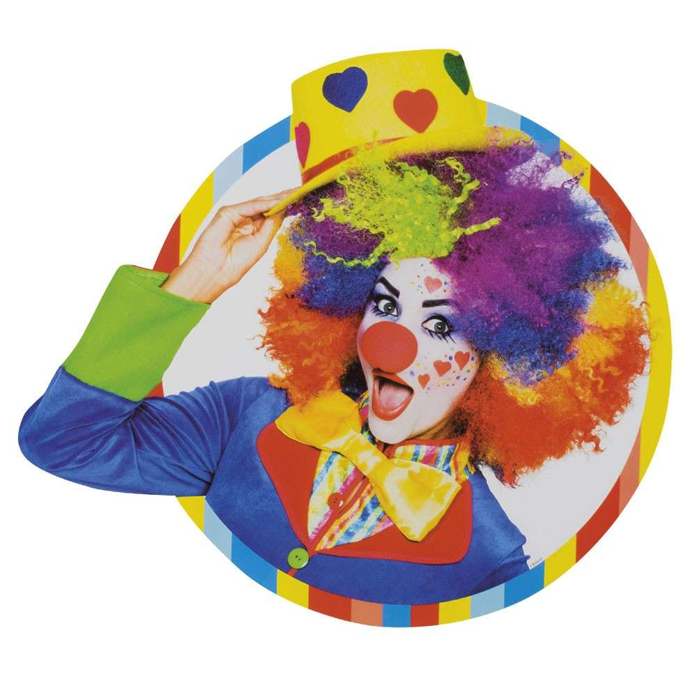 Wanddeko Clown Farbenfrohe Clown Party Wanddeko 33cm