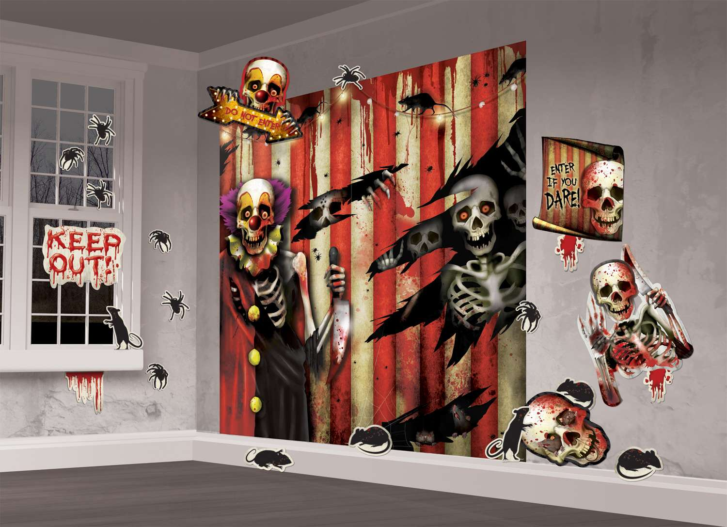 Wanddeko Clown Horro Zirkus Zombie Clown Xxl Indoor Wanddekoration 165x82cm