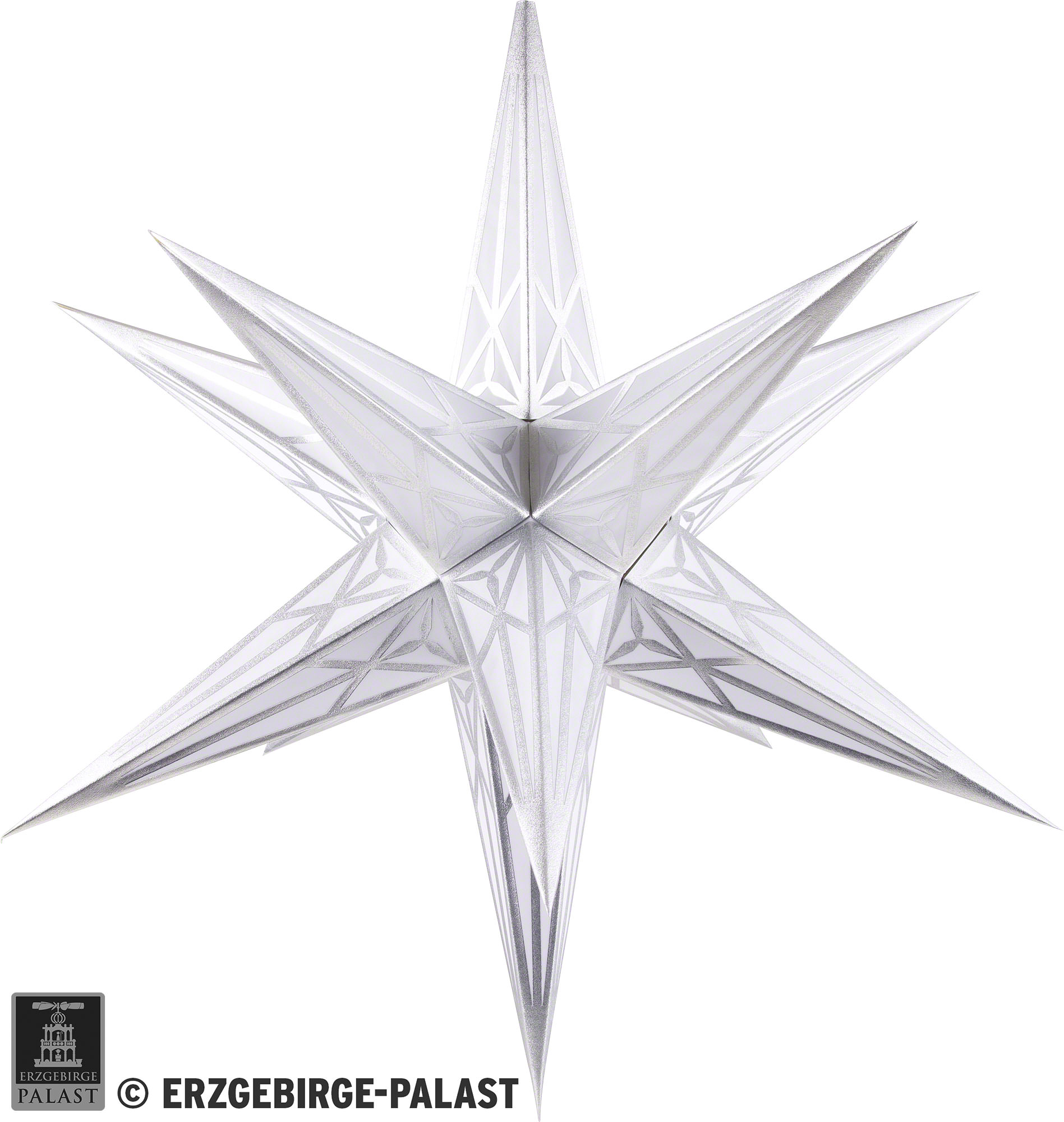 Weihnachtsstern Original Hartenstein Christmas Star For Inside Use White With Silver 68 Cm 27 Inch