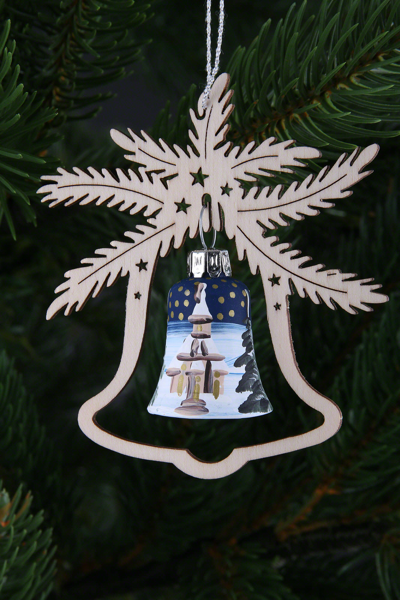 Tree Ornament Hand Painted Glass Bell Church Of Seiffen