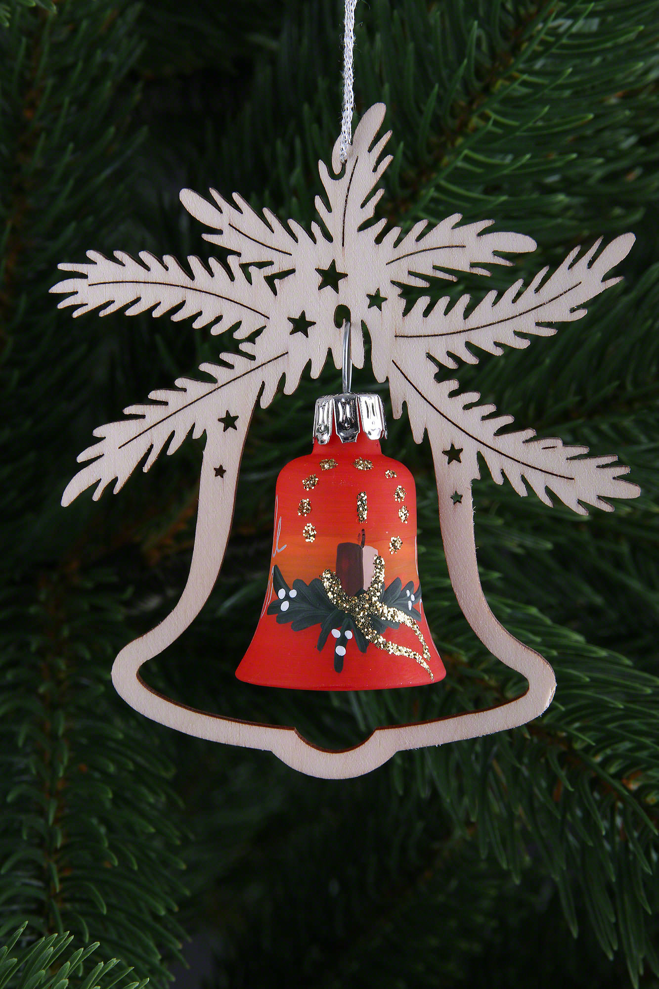 Tree Ornament Hand Painted Glass Bell Red Symphony Set