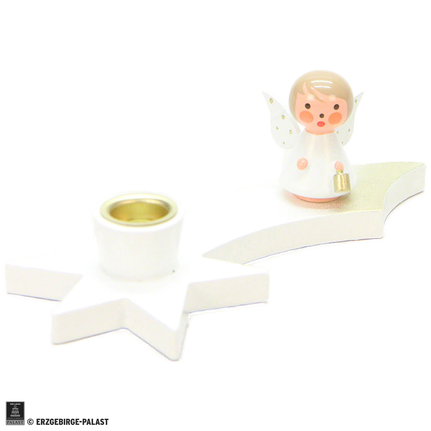 Ich Cm Candle Holder Angel On Comet White 3 Cm 1 2 Inch