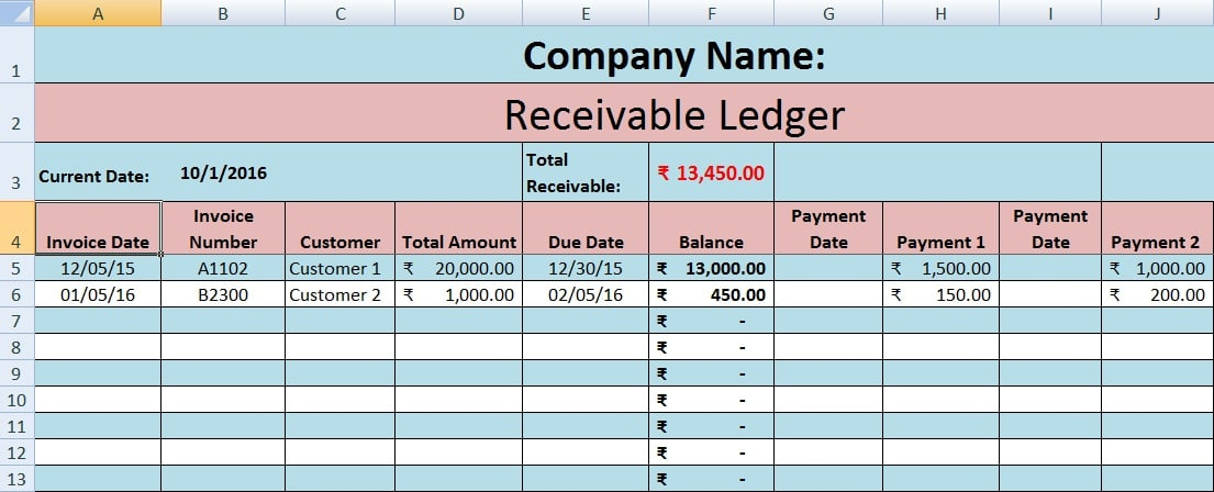 Download Accounts Receivable Excel Template - ExcelDataPro - ledger accounts template