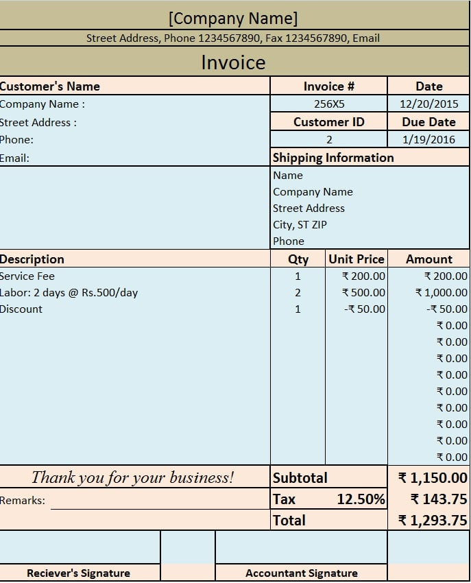 Download Invoice / Bill Excel Template - ExcelDataPro - excel po template