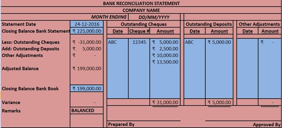 Download Bank Reconciliation Statement Excel Template - ExcelDataPro - bank reconciliation sheet