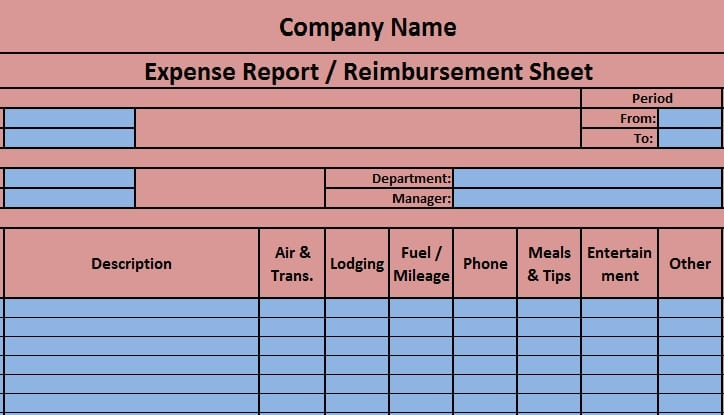 Download Expense Report Excel Template - ExcelDataPro - Expenses Templates