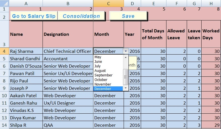 Download Salary Sheet Excel Template - ExcelDataPro - employee salary slip format pdf
