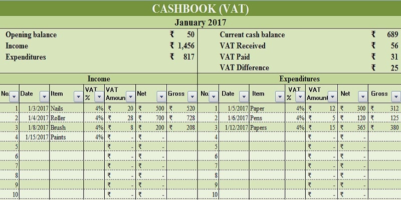 Download Cash Book With VAT Excel Template - ExcelDataPro