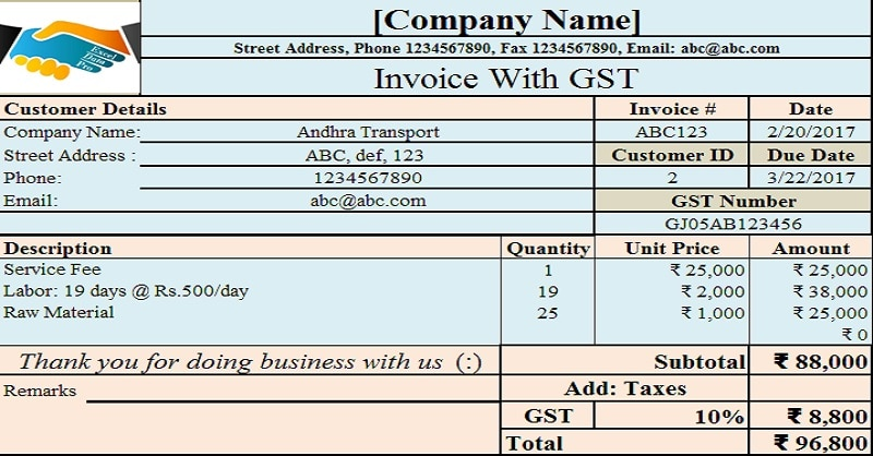 invoice with gst template - Ozilalmanoof