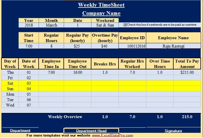 Download Weekly Timesheet Excel Template - ExcelDataPro - weekly time sheet