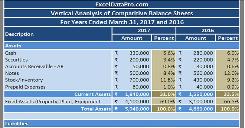 Download Balance Sheet Vertical Analysis Excel Template - ExcelDataPro
