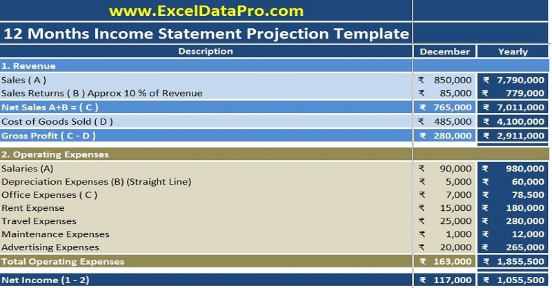 Download Income Statement Projection Excel Template - ExcelDataPro - Income Statement Template