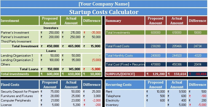 Download Startup Costs Calculator Excel Template - ExcelDataPro - expense excel template