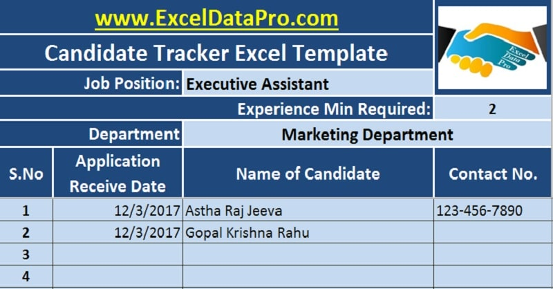 Download Job Candidate Tracker Excel Template - ExcelDataPro - attendance tracking system in excel