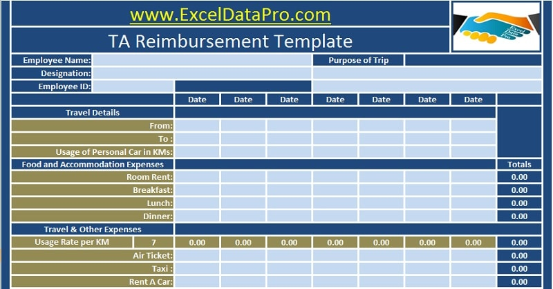 Download Employee TA Reimbursement Excel Template - ExcelDataPro
