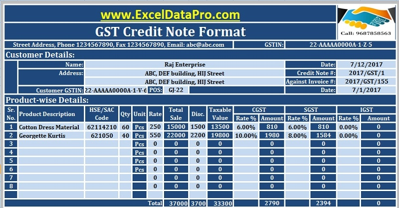 Download GST Credit Note Format In Excel Issued Against Goods Return - format for credit note
