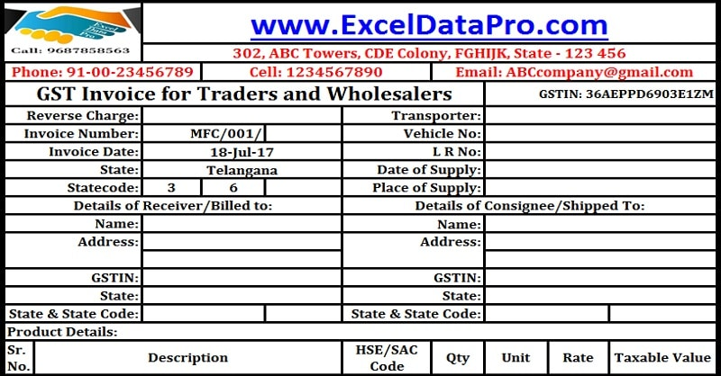 Download GST Invoice Format For Traders And Wholesalers In Excel
