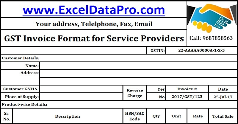 Download GST Invoice Format for Service Providers in Excel - australian invoice template