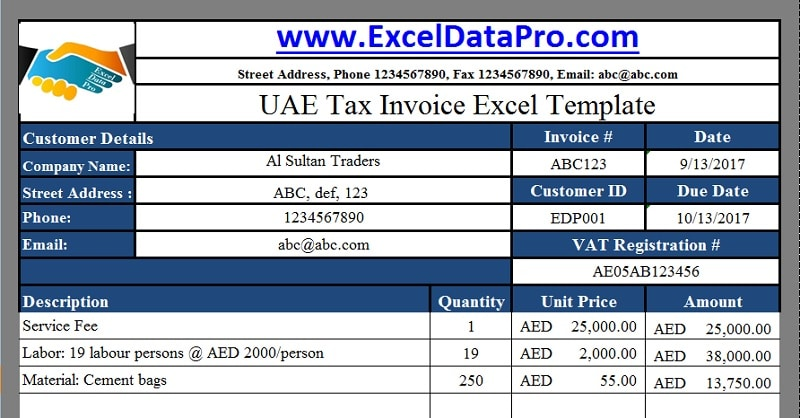 Download UAE VAT Tax Invoice Excel Template As Per The Federal Law 8