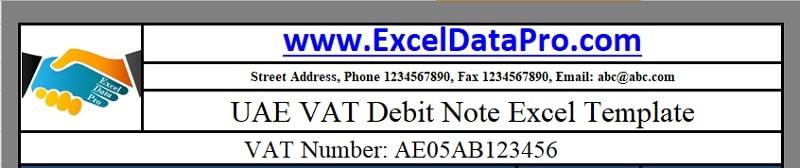 Download UAE VAT Debit Note Excel Template - ExcelDataPro
