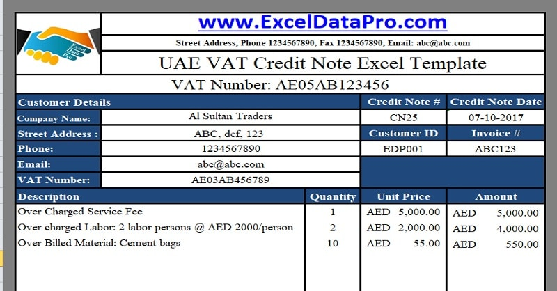 UAE VAT invoice in Arabic Archives - ExcelDataPro - credit note template
