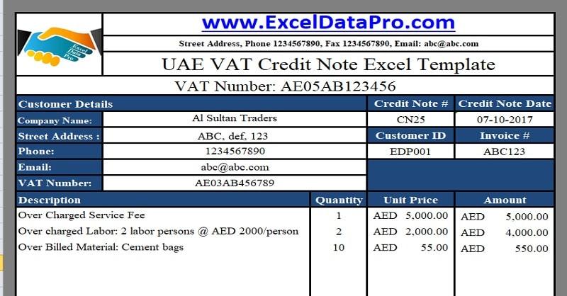 Download UAE VAT Credit Note Excel Template - ExcelDataPro