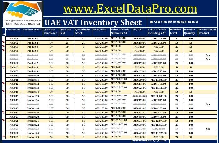 Download UAE VAT Inventory Management Excel Template - ExcelDataPro - inventory management template