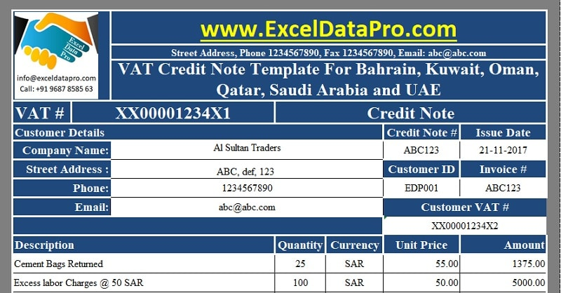Download VAT Credit Note Template for Bahrain, Kuwait, Oman, Qatar - credit note template