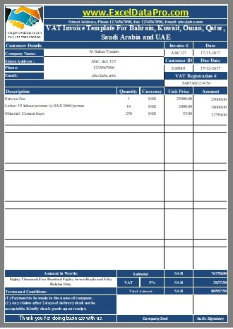 Download VAT Invoice Template for Bahrain, Kuwait, Oman, Qatar