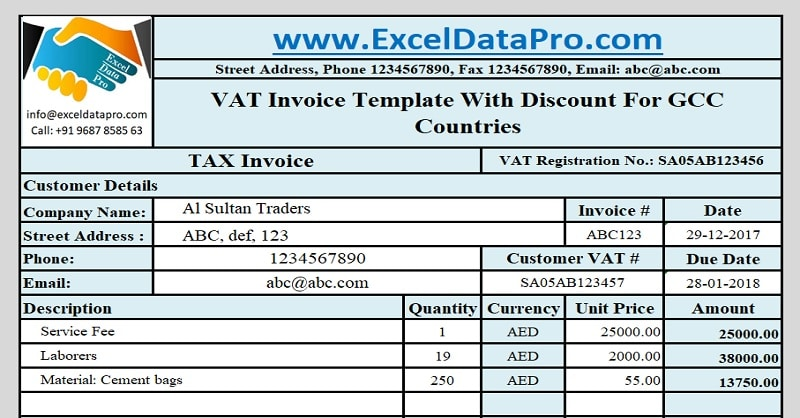 Download GCC VAT Invoice Template With Discount - ExcelDataPro