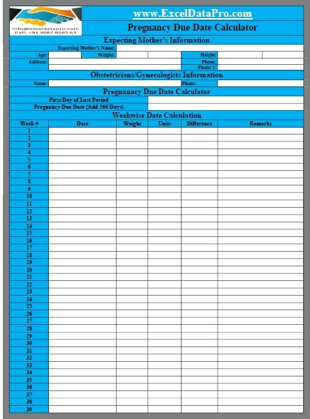 Download Pregnancy Due Date Calculator Excel Template - ExcelDataPro
