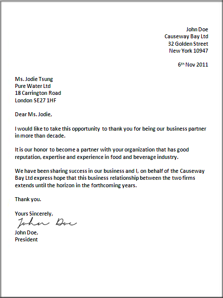 official letter heading
