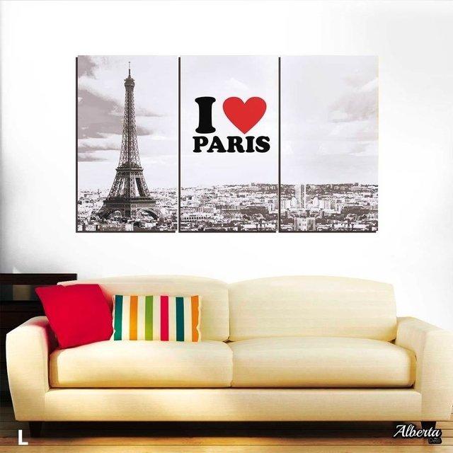 Cuadro de tres piezas de Eiffel I love Paris Triptico