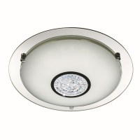Decorative Large LED Flush Ceiling Light - Chrome with ...