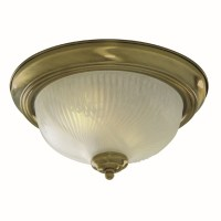 Flush Ceiling Light - Round Antique Brass