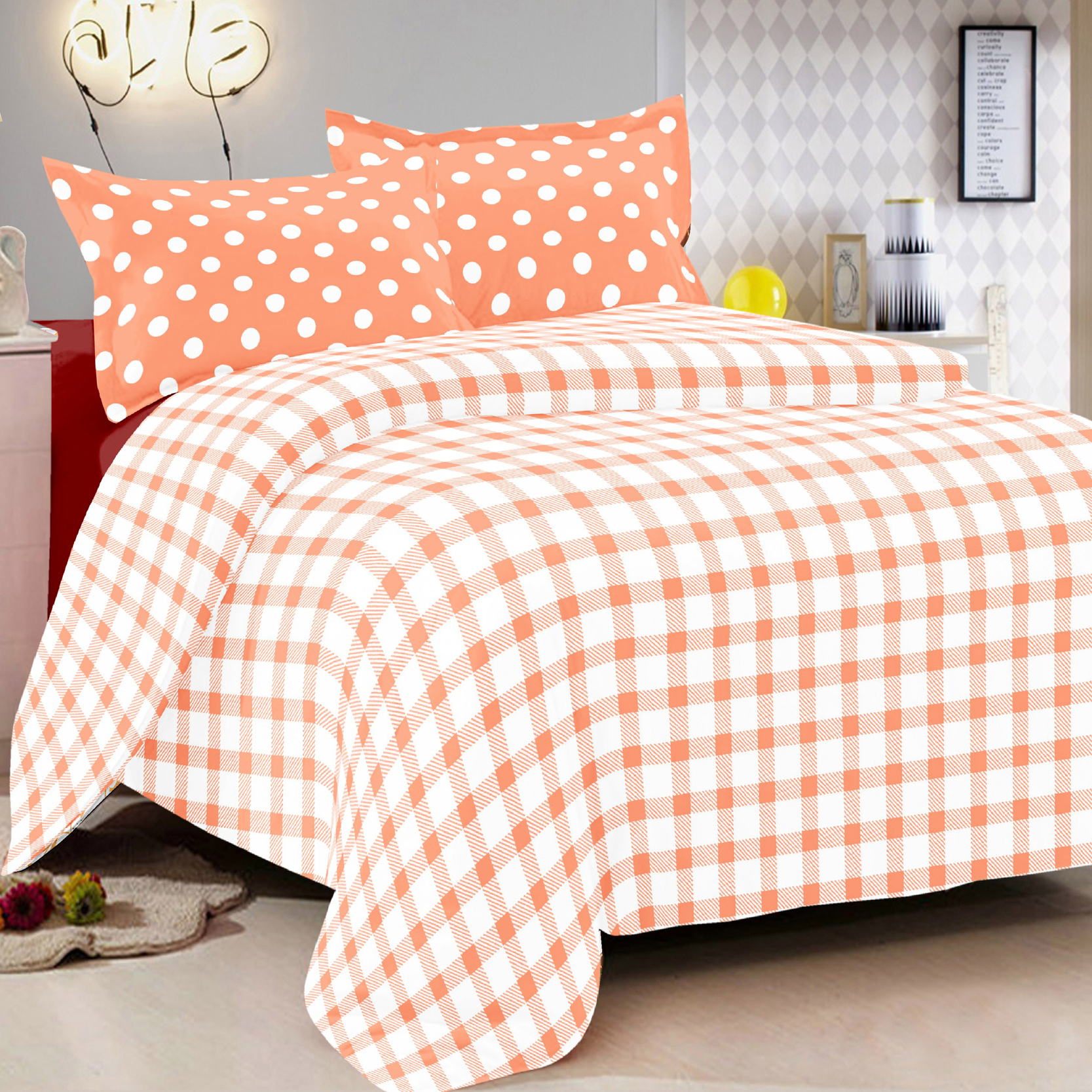Double Bed 100 100 Cotton Orange Checks Double Bed Sheet With 2 Pillow Covers