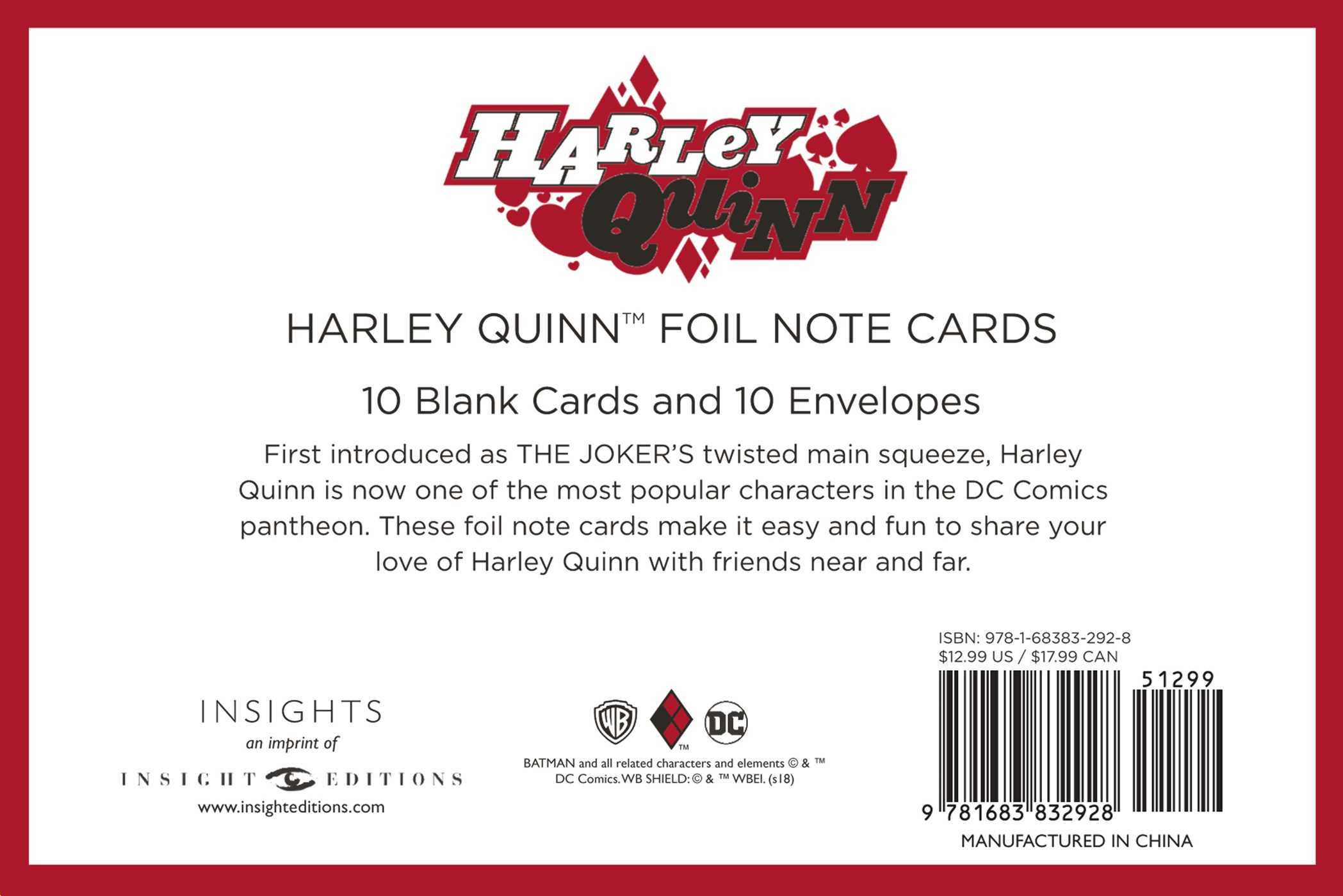 Flagrant Dc Harley Quinn Foil Note Cards Book By Easy Note Cards Endocrine System Easy Note Cards Joints Dc Comics Harley Quinn Foil Note Cards Set cards Easy Note Cards