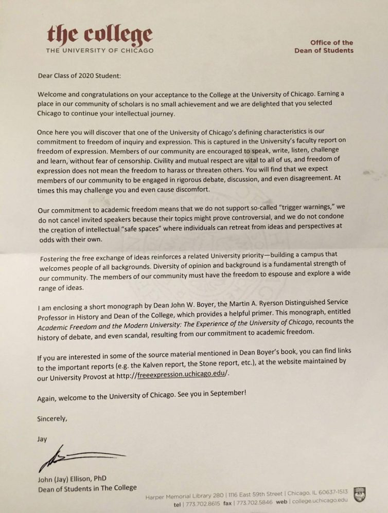 University of Chicago Letter to Incoming Freshman 2016 - FIRE