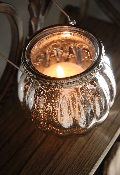 Glass Candle Holders Hanging Mercury Glass Candle Holder 3in