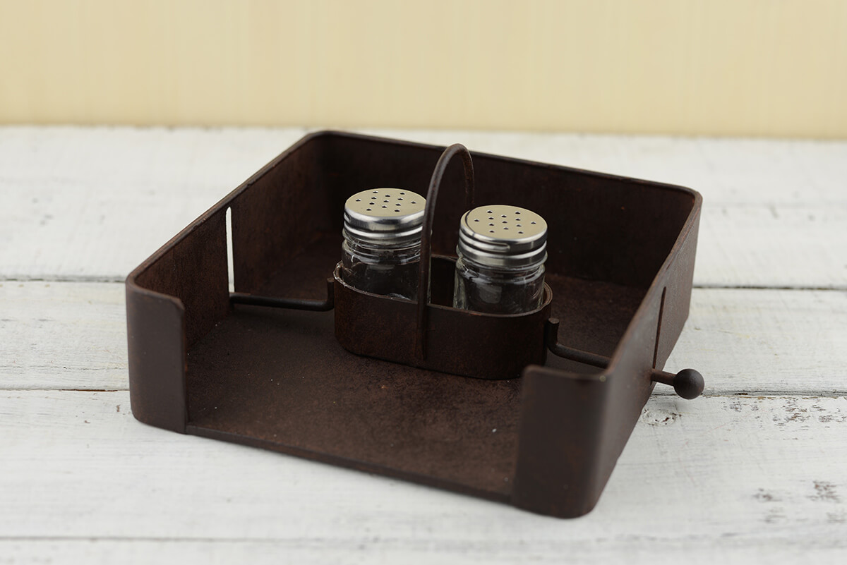 Salt Pepper Holder Iron Napkin Holder With Salt And Pepper Shakers