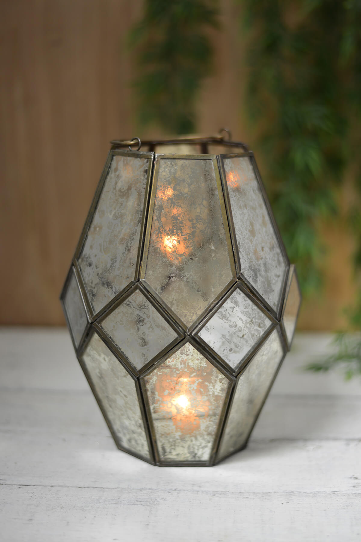 Moderne Laterne Mid-century Modern Candle Lantern With Chain Hanger
