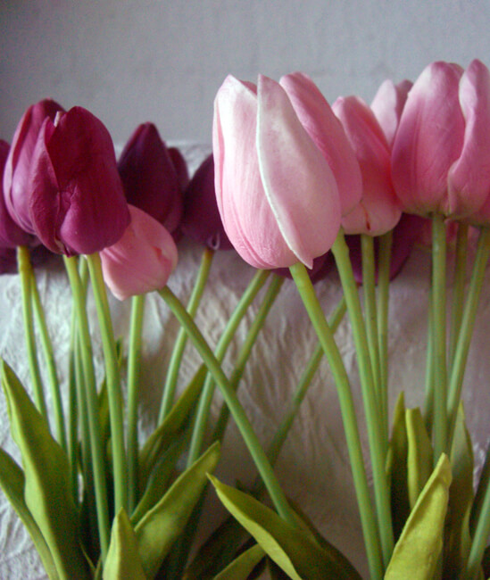 Tulip Table Real Touch Silk Flower Mini Pink Tulip Bouquet 15""
