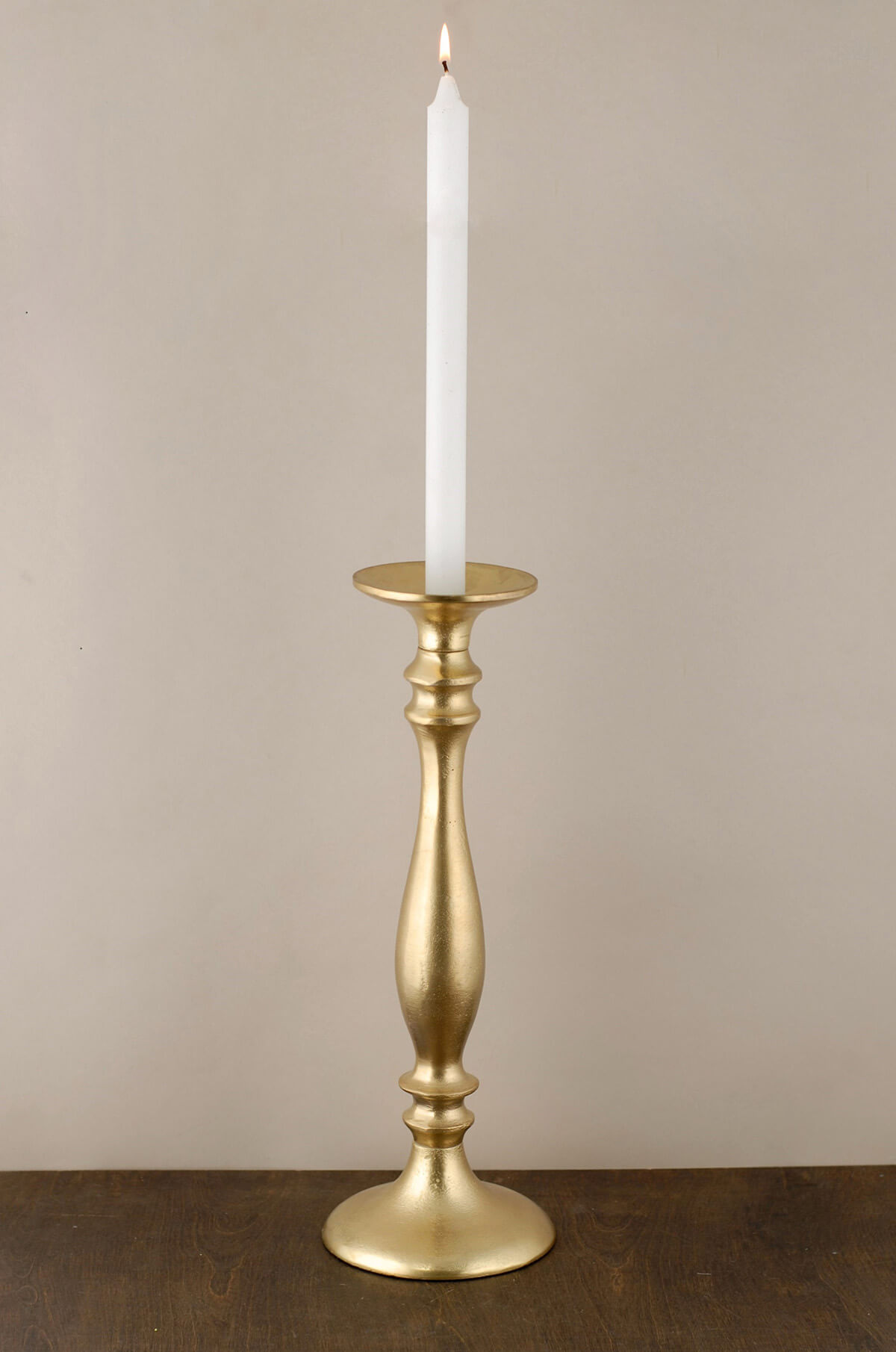 Pillar Candle Holder Gold 15.5in