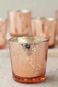 12 Rose Gold Mercury Glass Candle Holders