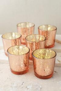 6 Rose Gold Mercury Glass Candle Holders