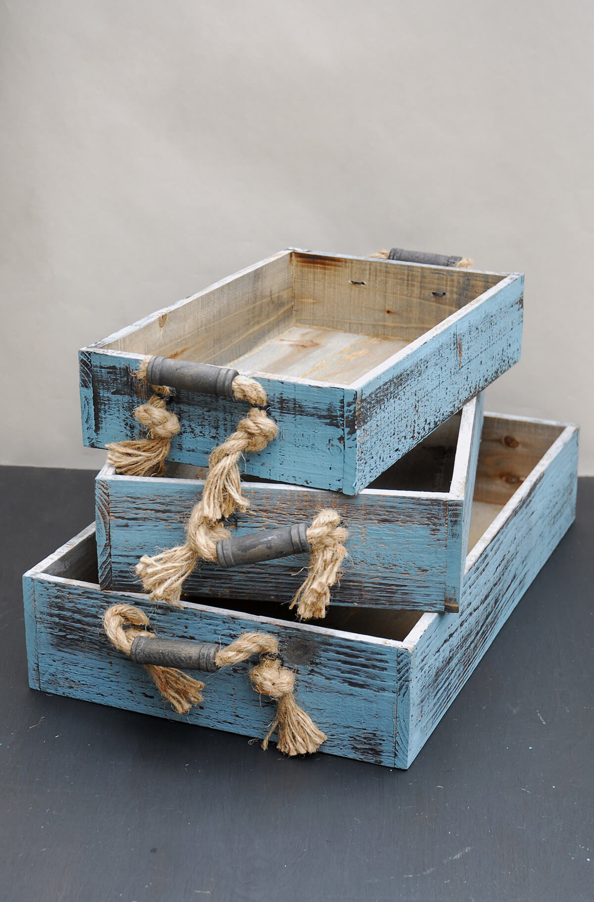 Cheap Wooden Crates Wood Trays With Rope Handles