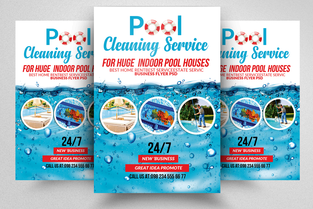 Pool Cleaning Service Flyers by Designh Design Bundles - new business flyers