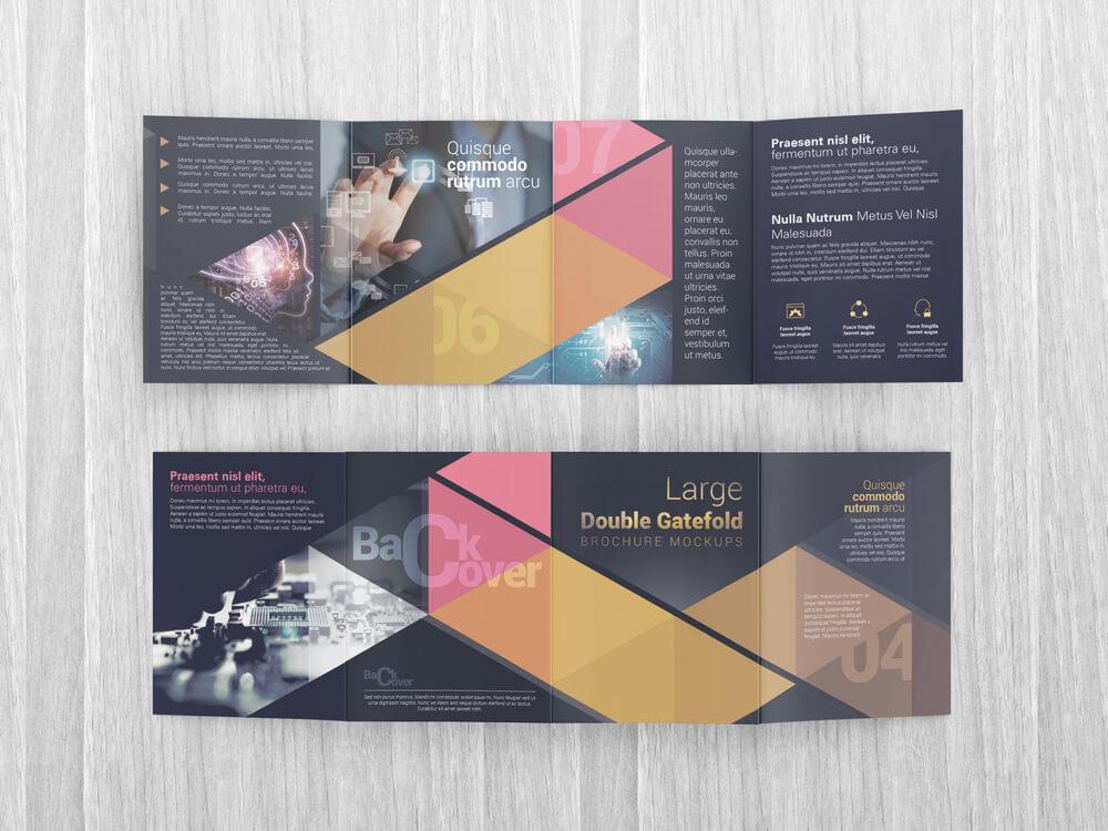 Large Double Gate Fold Brochure Mockups Design Bundles