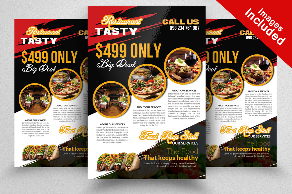 Restaurant Flyer Template by Designhub7 Design Bundles